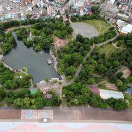 空から見た常磐公園(2013年6月)
