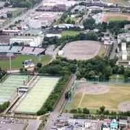 空から見た花咲スポーツ公園(2013年6月)